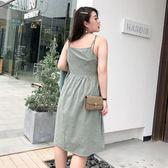 2019新款夏裝大碼女裝法國小眾背帶裙減齡洋氣吊帶連身裙