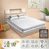 IHouse-清田 日式插座收納床組(華納床墊+床頭+床底)-雙大6尺