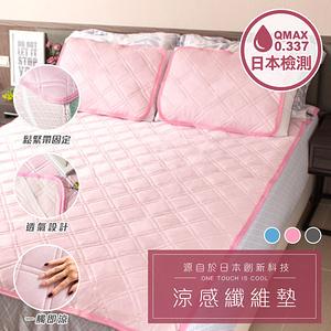 樂嫚妮 贈Astonish清潔劑-接觸涼感纖維墊床墊枕墊-單人-粉