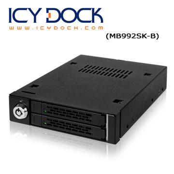 "ICY DOCK 全金屬 雙層式 2.5"" SATA SSD/HDD 轉一3.5"" 裝置空間 硬碟抽取盒 (MB992SK-B)"