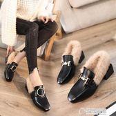 秋冬季新款百搭粗跟韓版中跟外穿社會豆豆毛毛鞋女英倫女鞋子 草莓妞妞