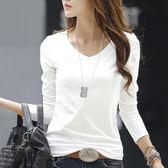 【熊貓】純造早春V領白色長袖t恤女裝