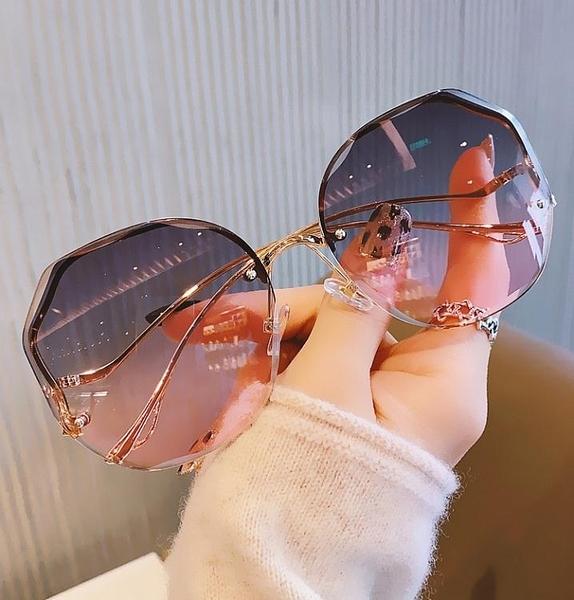 太陽鏡女2021年新款韓版潮淺色透明墨鏡女防紫外線網紅款無框眼鏡 嬡孕哺 免運