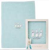 【奇哥】恬靜比得兔洞洞棉毯禮盒-藍綠