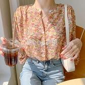 V領碎花雪紡襯衫女超仙2021新款設計感小眾印花洋氣上衣甜美小衫 快速出貨