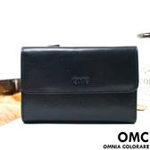 OMC - 原皮魅力真皮系列三折多卡式中夾 - 星辰藍