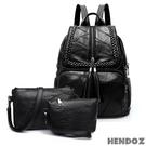 多件組-HENDOZ.羊皮時尚流蘇後背包超值組(黑色)A1532(1533)