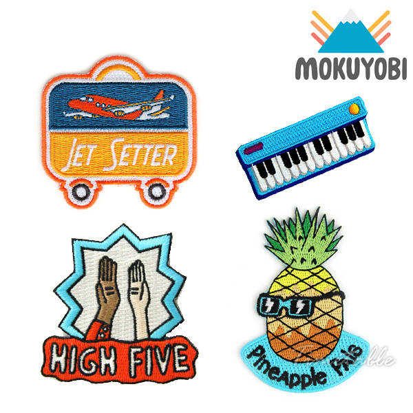 MOKUYOBI / Iron On Patches / L.A 空運特色創意熨燙補丁徽章 - JET SETTER x KEYBOARD JAM x HIGH FIVE x PINEAPPLE PALS
