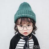 baby帽  寶寶兒童毛線帽子針織秋冬新款純色男童女童韓版小孩帽子保暖護耳  poly girl