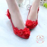 婚鞋紅色 中低跟敬酒鞋蕾絲立體花防滑孕婦單鞋