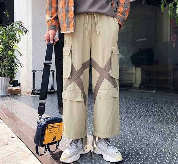 FINDSENSE品牌 2019春季 新款 韓國 嘻哈 工裝褲  寬鬆  撞色