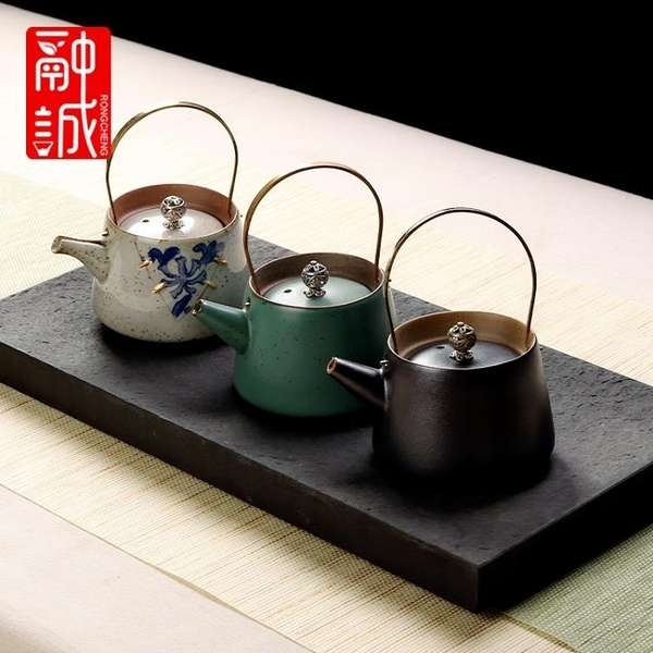 仿古茶壺提梁壺陶瓷復古泡茶器家用銅把單壺茶水壺日式功夫茶具 【快速】