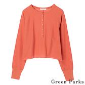 「Summer」紐釦圓領短版直紋上衣 - Green Parks