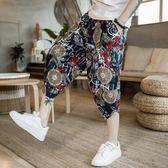 燈籠褲 亞麻刺繡哈倫褲男士加肥加大碼棉麻七分褲寬鬆薄款夏季中國風短褲  瑪麗蘇