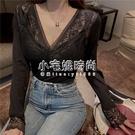 性感蕾絲V領保暖衣冬季加絨長袖T恤顯瘦打底衫帶胸墊   【全館免運】