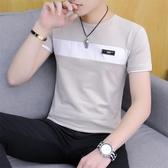 短袖t恤 男士棉質短袖t恤夏季薄款男裝上衣夏裝半袖正韓潮流拼接圓領衣服