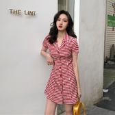 清倉$388 韓系單排扣翻領修身格紋高腰休閒短袖洋裝