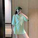 【YPRA】夏季女裝上衣寬鬆短袖t恤翻領POLO衫