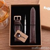 biiyan頭層手錶帶男女錶鍊經典普通針扣玫瑰金色機械腕錶配件 美芭