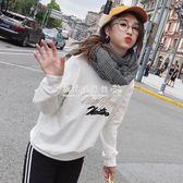衛衣  韓版寬鬆百搭刺繡字母薄款衛衣女學生長袖外套上衣潮 『歐韓流行館』
