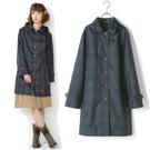 雨衣 格紋鈕釦防水雨衣/風衣外套【EL1009】 icoca  04/07