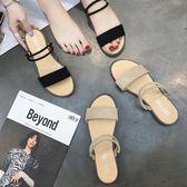 涼鞋女夏季2018新款韓版百搭學生平底一鞋兩穿一字拖鞋女羅馬鞋潮中秋禮品推薦哪裡買