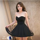 售完即止-平口洋裝正韓新品性感抹胸素面M型下紗大擺平口洋裝禮服連身裙9-14(庫存清出S)