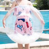 梨卡 - 天使羽毛~搶眼沙灘海邊PVC透明粉色充氣泳圈游泳圈M169