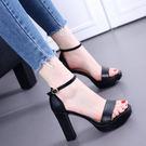 高跟涼鞋 女粗跟防水臺高跟鞋【多多鞋包店】z781