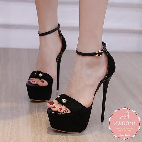 高跟涼鞋 甜美小裝飾細跟蘿莉風 高跟鞋 晚宴鞋 新娘鞋*KWOOMI-A43