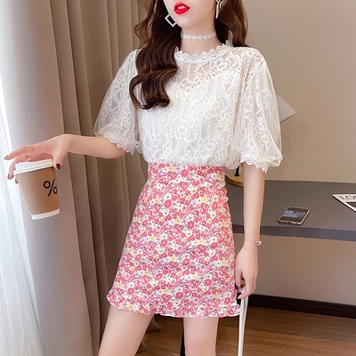短袖套裝~7210#2021夏新款清新甜美減齡蕾絲碎花木耳邊半身裙兩件套H311-E胖妞衣櫥