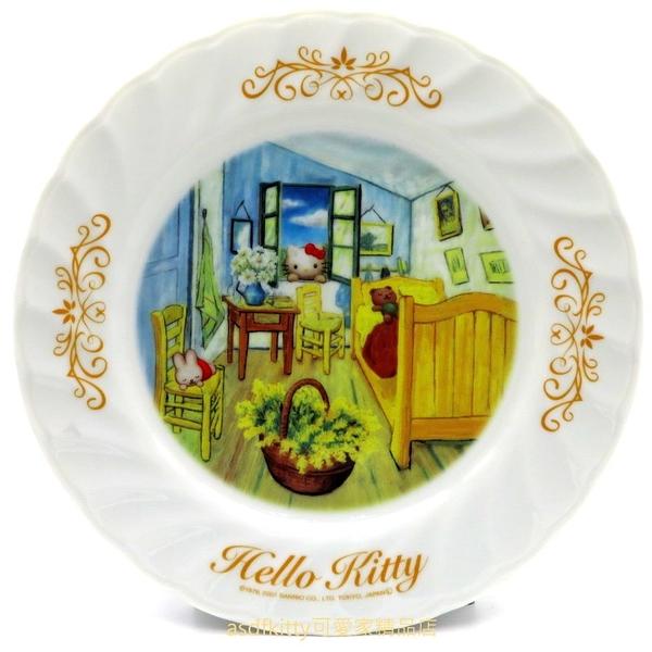 asdfkitty*KITTY收藏級古典陶瓷繪盤-房間一隅-2001年絕版商品-外盒泛黃-日本正版