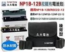 【久大電池】NP18-12B 尼龍布電池包 適用各廠牌 12V17Ah~12V24Ah 密閉式電池 防撥水背包-後背