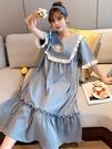 公主風睡裙女夏季純棉薄長款短袖清新可愛睡衣夏天寬鬆大碼家居服 依凡卡時尚