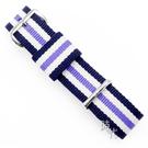 【台南 時代鐘錶 精選DW錶帶】三色面帆布錶帶 藍白紫/銀扣  0809DW 18mm