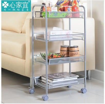 小熊居家家用浴室角置物架廚房用品置物架收納架金屬層架多功能小推車  銀灰色特價