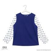 【INI】搶眼甜美、拼接點點雪紡質感上衣.藍色