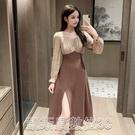洋装赫本風拼接收腰顯瘦長袖連衣裙女2021春款小性感側開叉設計連衣裙 凯斯盾