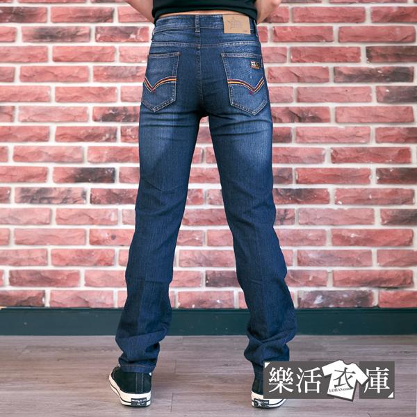 【2109】剌繡標幟刷色伸縮牛仔長褲 彈力 輕薄(深藍)● 樂活衣庫