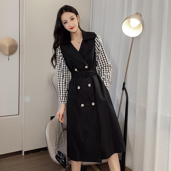 絕版出清 韓國風氣質顯瘦格紋拼接風衣外套長袖洋裝