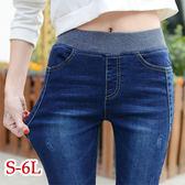 BOBO小中大尺碼【9988-1】鬆緊褲頭刷白窄管褲-S-6L