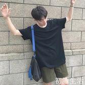 日系情侶夏季男士原宿純色T恤寬鬆修身短袖衣服韓版半袖體恤潮流 初語生活