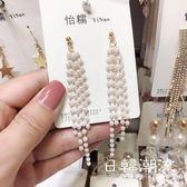 耳環  耳環女氣質韓國個性潮人不規則長款水晶流蘇珍珠潮流女耳飾