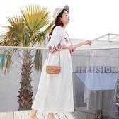 孕婦連身裙夏2018新款短袖民族風刺繡裙子寬鬆長款孕婦裝夏裝上衣
