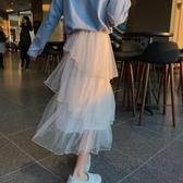 半身裙春夏季蛋糕裙中長款高腰紗裙學生網紗半身裙超仙女長裙子新年禮物