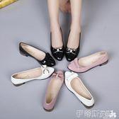 小皮鞋2018韓版女單鞋低跟百搭尖頭蝴蝶結淺口平底休閒小皮鞋女鞋潮 伊蒂斯女裝