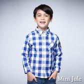 Mini Jule男童 上衣 單邊口袋美式圖案格子長袖襯衫(藍)