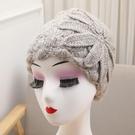 日系小眾復古文藝蕾絲花朵鏤空包頭帽女甜美時尚針織毛線帽瓜皮帽 3C數位百貨