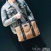 韓版潮男包包公文包商務式手提包斜背包單肩斜跨帆布男士休閒包袋 深藏blue
