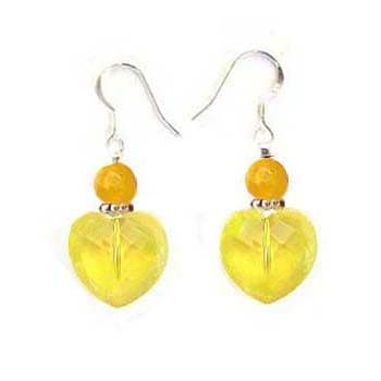 黃水晶切角度心與黃玉珠純銀耳環